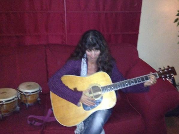 Karen learning guitar!